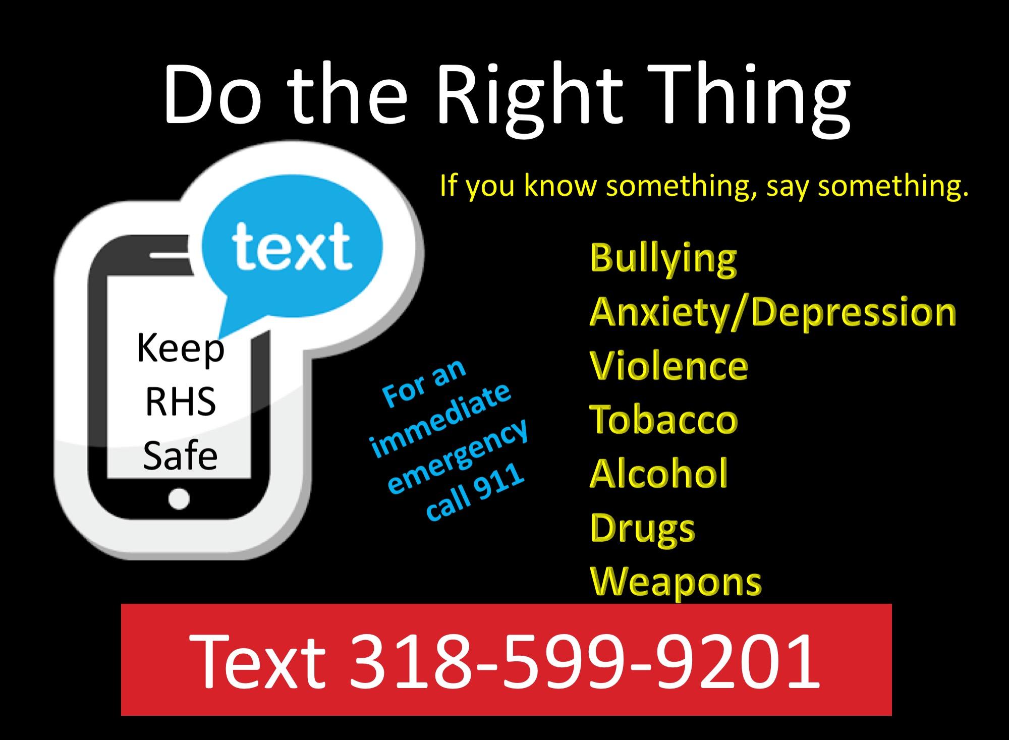 RHS Tipline 318-599-9201