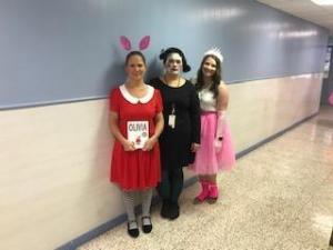 3rd grade teachers dress as book characters.