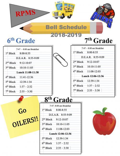 RPMS 2018-2019 Bell Schedule.