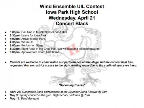 Concert and Sight Reading Contest Itinerary