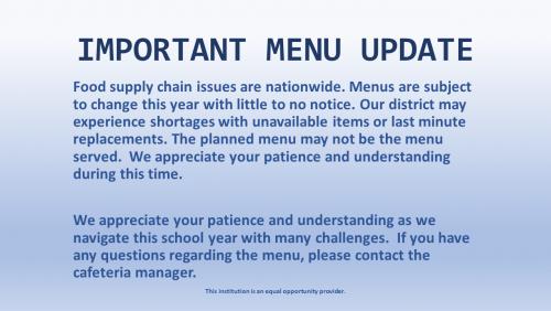 Menu Update Notice