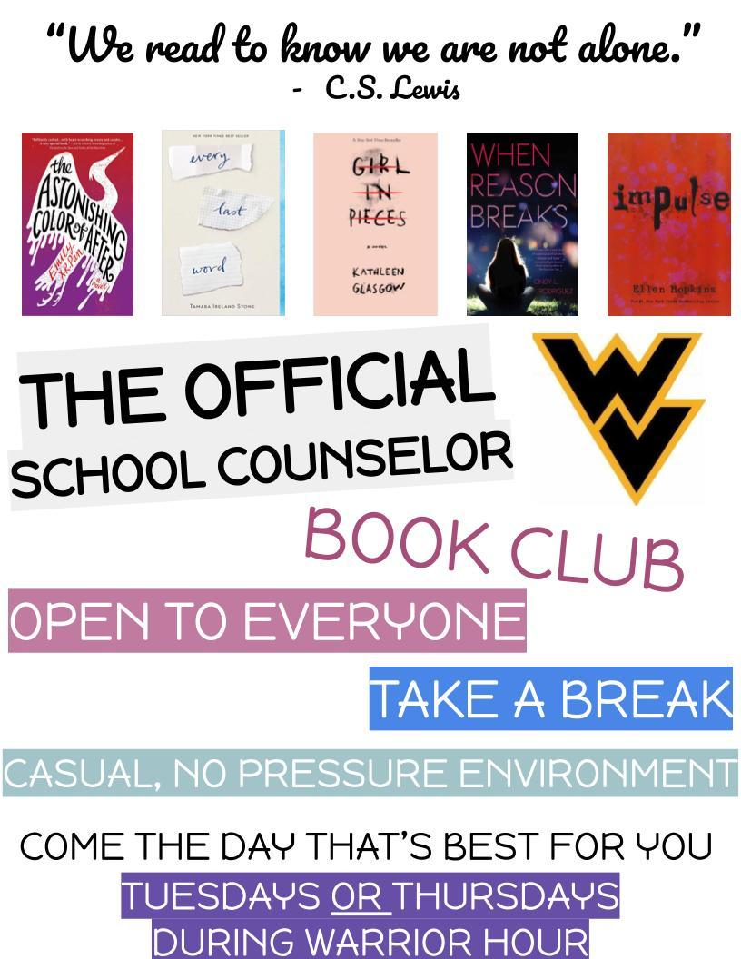 WV School Counselor Book Club Flyer