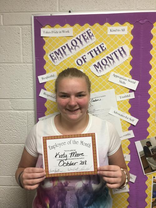 Katy is employee of the month for October for our am group