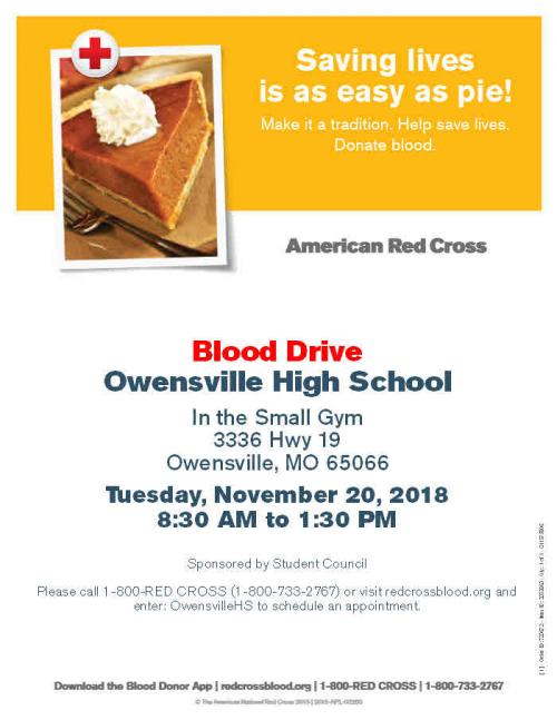 This flyer provides viewers with the necessary information for the upcoming Blood Drive.