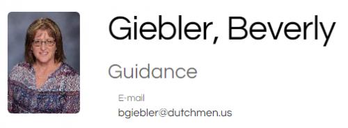 Beverly Giebler Freshman / Sophomore Counselor