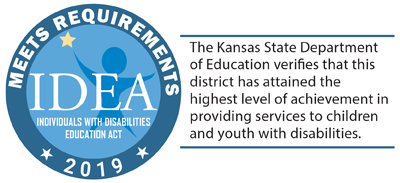 IDEA: The Kansas Department of Education verifies that this district has attained the highest level of achievement in providing services to children and youth with disabilities.