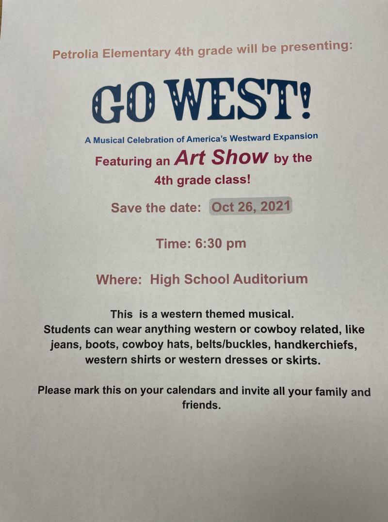 Petrolia Elementary Presents Go West!