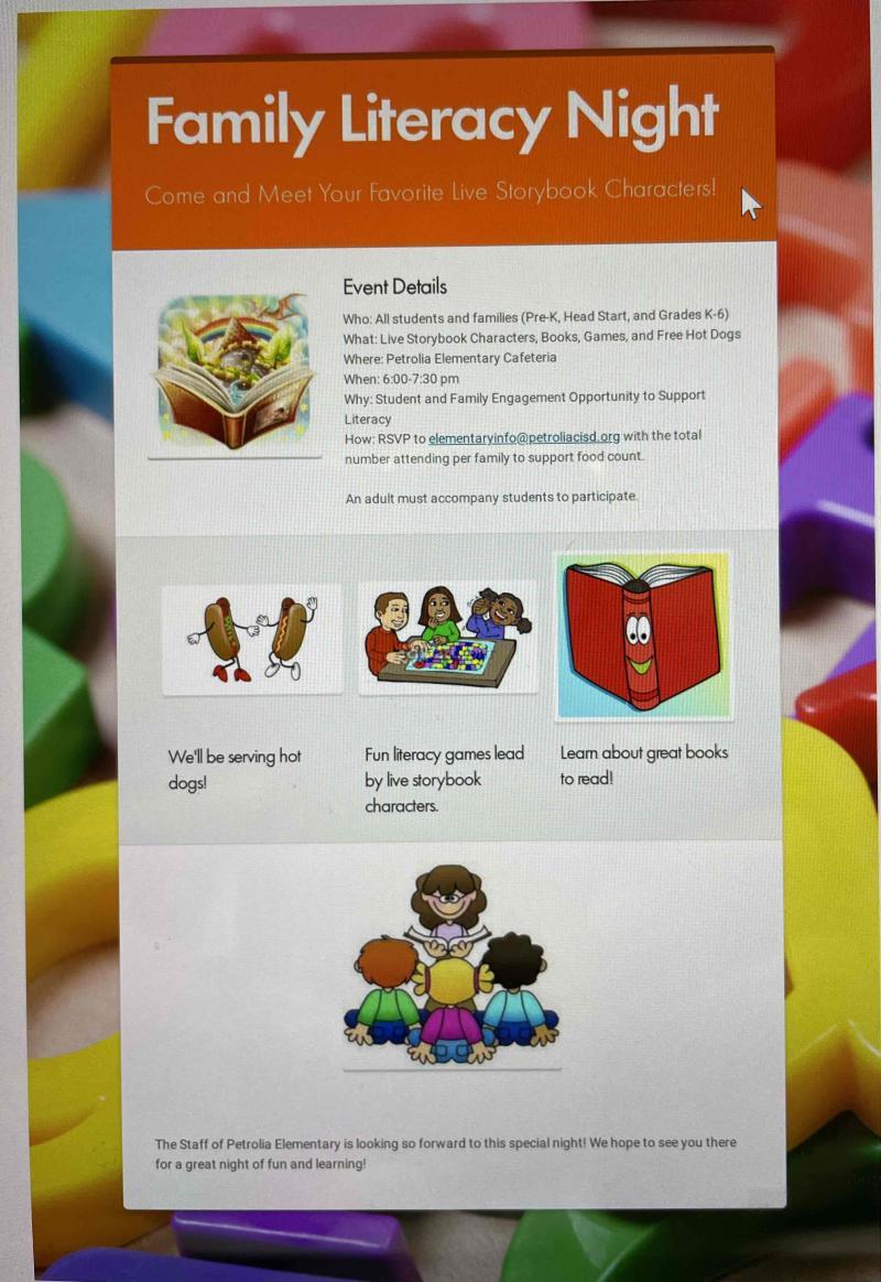 Petrolia Elementary Family Literacy Night