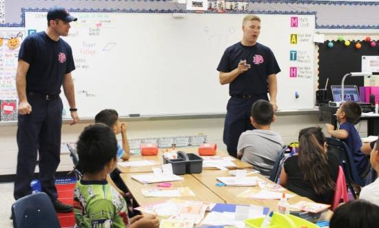 Paris Fire Department Firefighters Josh McCord and Austin Sugg visited Justiss Elementary School to speak to students during Fire Prevention and Safety Education month.