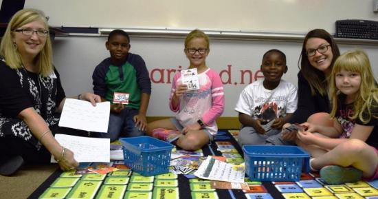 Aikin Students Go BOLD against Harvey - Pictured (left to right) are Socrates teacher Tammy King, Semaj Bell, Caroline Gillem, Braylon Williams-Ricks, 1st grade teacher Lauren Matthews, and Staylee Davis.