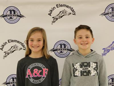 fourth graders Madison Sherwood and Mason Miller from Aikin