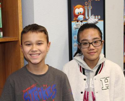 Luke de la Garza (6th grade) and Nicole Octavio (5th grade) from Crockett
