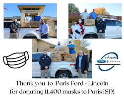 Paris ISD receives 11,400 masks from Paris Ford - Lincoln