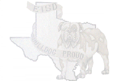 EISD Mural with Bulldog Proud in foreground over Texas map background