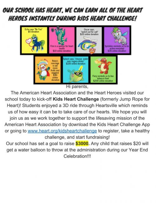 Kids Heart Challenge Parent Letter
