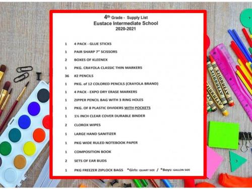 Fourth Grade School Supply List