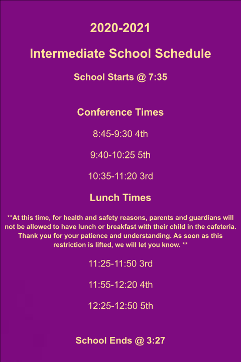 Eustace Intermediate Daily Schedule