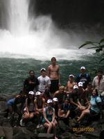 group pic at waterfall