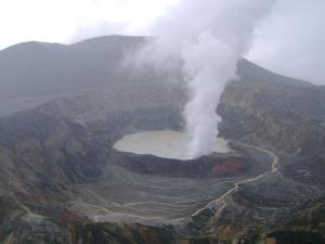 looking down into the volcano