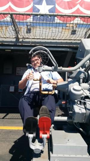 Matthew manning an AA gun on the USS Lexington