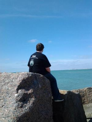 Chris enjoying the view of Corpus Christi Bay.