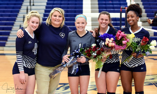 Coach Humphrey and Ladycat seniors