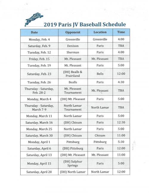 JV Baseball schedule 2019