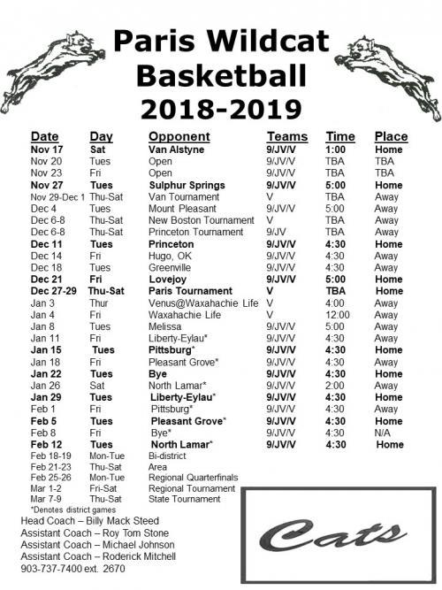 2018_19 Basketball Schedule