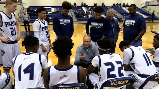 boys basketball sideline huddle