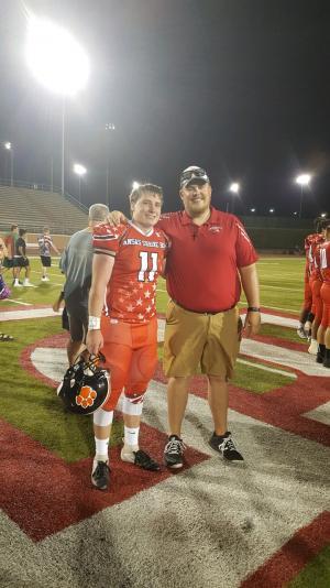 Dagen Goodner & Coach Wyrick after 2019 Kansas Shrine Bowl