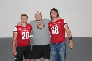 Conor Haviland, Coach Wyrick, & Josh Hull after 2020 Kansas Shrine Bowl