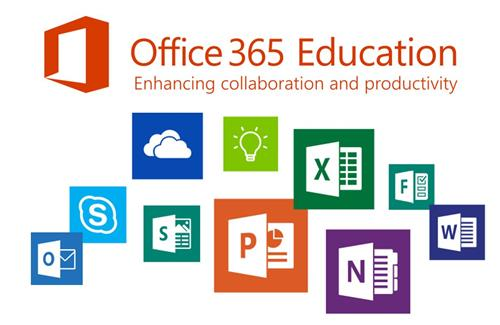 Office 365 Education picture with images of Word, Excel, Powerpoint and other Office tools