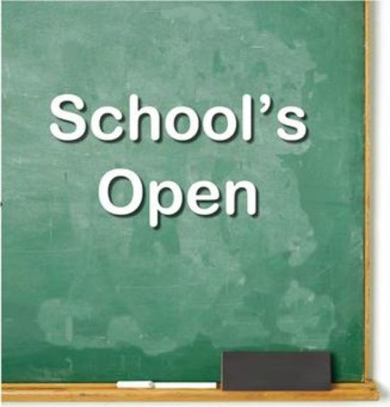 School Open Monday, August 31