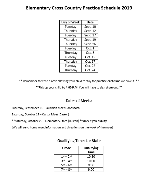 Elementary Cross Country Information- Practice and Meet Dates