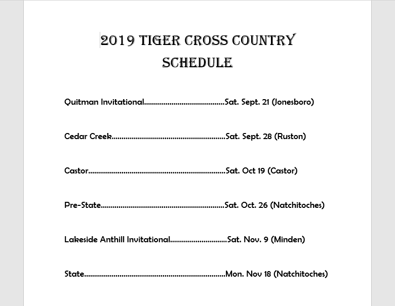 Tigers and Lady Tigers Updated Cross Country Schedule