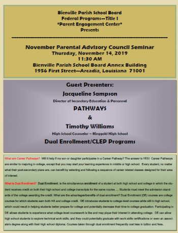 November Parental Advisory Council Seminar
