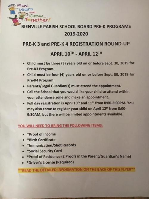 pre k program requirements