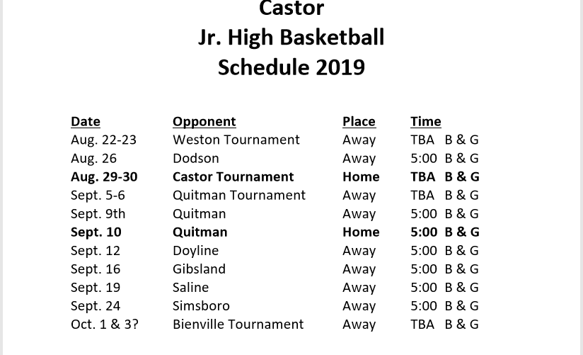 Junior High Tigers and Lady Tigers Basketball Schedule