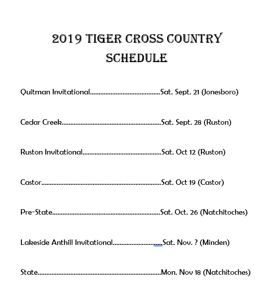 High School Tigers and Lady Tigers Cross Country Schedule