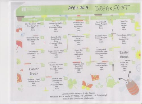 April Breakfast Menu