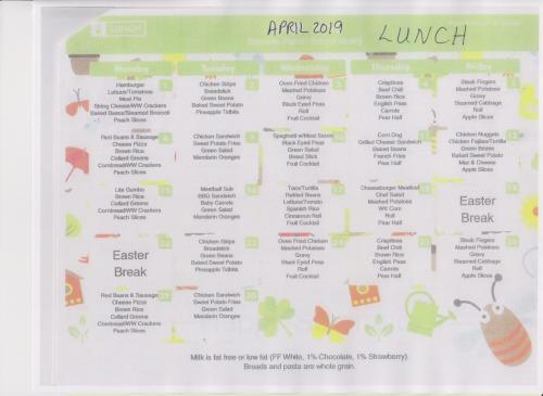 April Lunch Menu