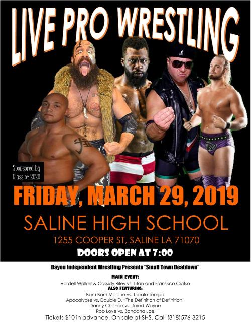 Bayou Independent Wrestling Flyer March 29