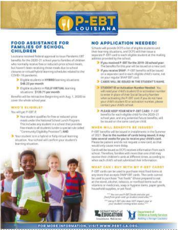 Louisiana P-EBT information flyer
