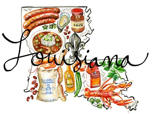 Louisiana with food items in the Louisiana shape