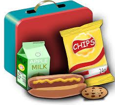 Student lunch box with chips, milk, hotdog, and cookie