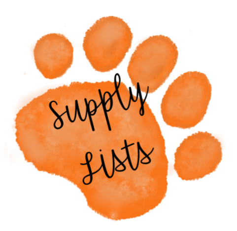 orange paw with supply list