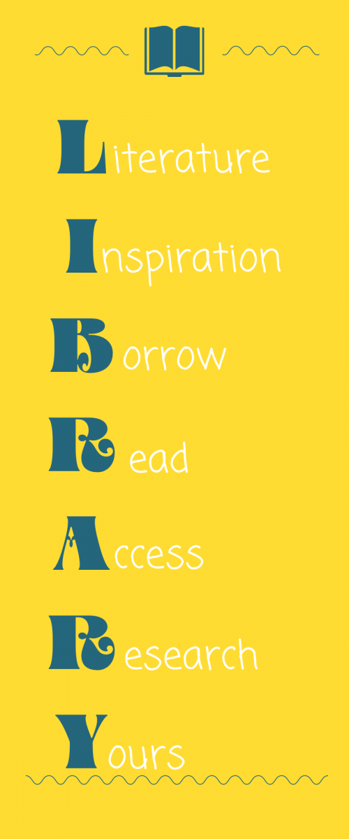 LIBRARY acrostic poem: literature, inspiration, borrow, read, access, research, yours