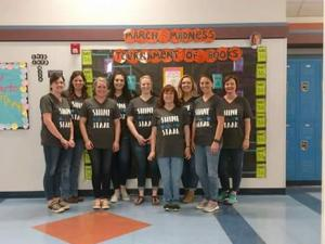 Some of the 5th grade teachers with our new STAAR shirts!