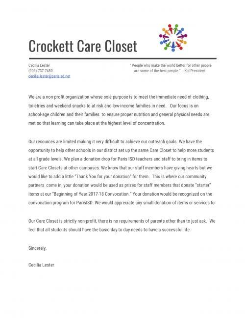 Care Closet Mission Letter