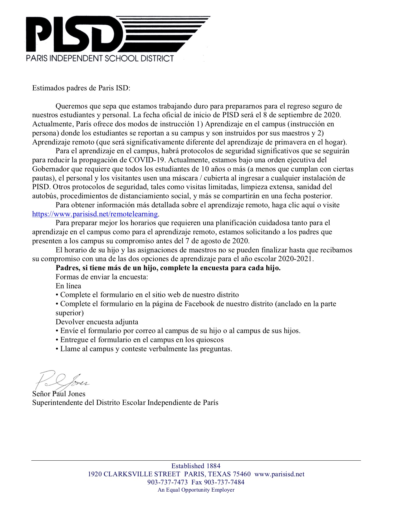 Welcome Letter Spanish